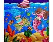 Mermaids Blue Red Fun Colorful Whimsical Folk Art Ceramic Tile