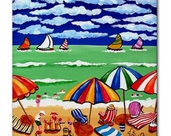 Beach Shore Umbrellas Sailboats Fun Whimsical Folk Art Ceramic Tile