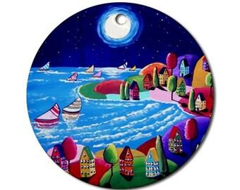 Romantic Shoreline Sailboats Moon  Folk Art Fun Whimsical Colorful Round Porcelain Ornament