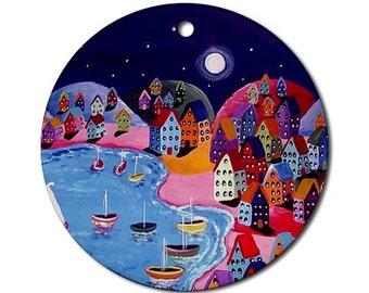 Peaceful Night Sailing Folk Art Fun Whimsical Colorful Round Porcelain Ornament