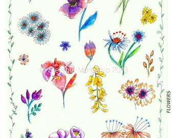 Flowers-Paper Digital sheet Printable-scrapbooking-Download and print-300 DPI