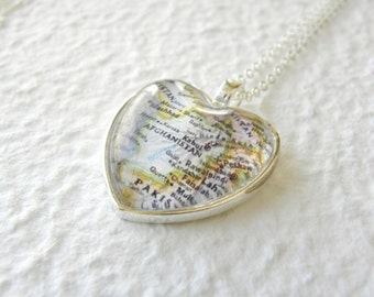 Afghanistan Map Necklace - featuring Kabul great gift for Military Wife or Troop