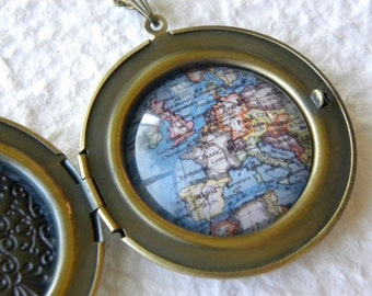Europe Map Necklace Locket - Europe featuring France, Spain, Italy, England, Germany, and more