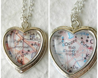 Disneyland or Walt Disney World Map Necklace - Petite Heart CHOOSE your necklace color - Great Gift For Disney Lover and Park Enthusiast
