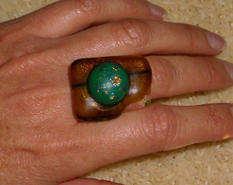 UNIQUE one of a kind FUSED GLASS dichroc ring