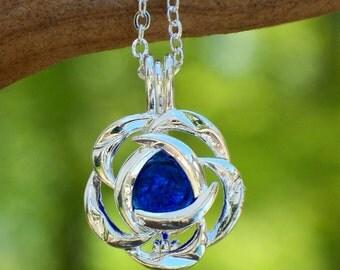 Recycled Vintage Cobalt Noxzema Jar Silver Blossom Necklace/Handmade/Repurposed Jewelry/Cobalt/Bottles/Repurposed/Unique Jewelry/Bridesmaid