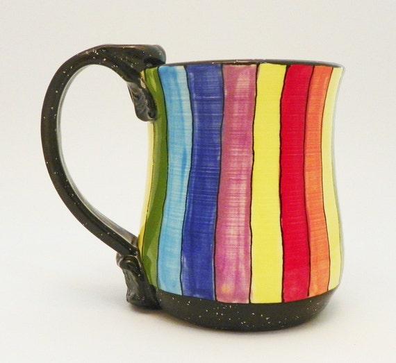 Ceramic Mug Rainbow Striped Roy G Biv 19 Ounces Ready to Ship