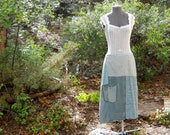 Sale Women's blue large upcycled skirt for shabby chic garden tea party chic A-line OOAK