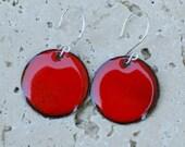 Enamel Earrings, Large Copper Disc, Enameled Jewelry Red