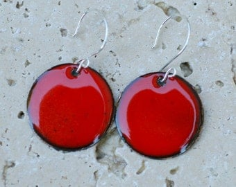 Enamel Earrings, Large Copper Disc, Enameled Jewelry Red