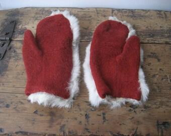 Pristine vintage red wool rabbit mittens