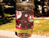 Mason Jar cozy / mason jar sleeve - Happy Bright Owls