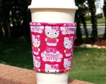 Fabric coffee cozy / cup sleeve / coffee sleeve  -- Hello Kitty in hot pink
