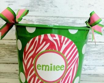 custom personalized 10 QUART name bucket in pink zebra print