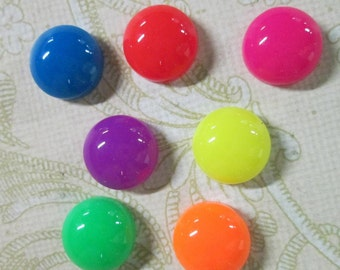 20 cute 12mm round bright dayglow multicolor cabochons,  mixed color neon cabs