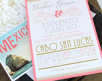 Silver and Gold Typography Wedding Invitation (Mexico) - Design Fee