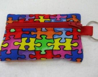 Autism Coin Purse - Puzzle Key Chain Change Purse - Autism Change Purse