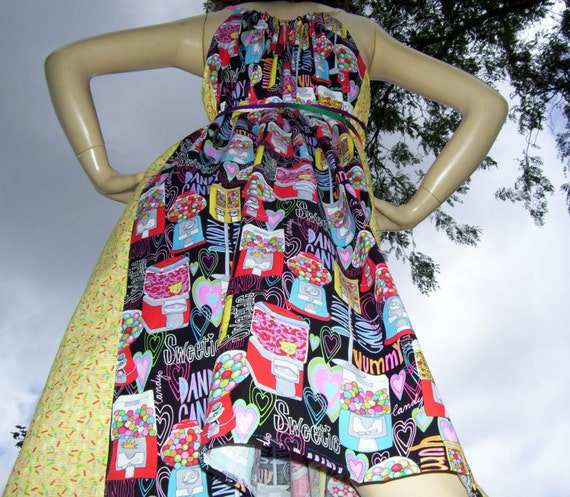 Candy Crush Sundress Hippie Geek Mom Birthday Party Sweet Tooth Soda Dress M L XL Plus Size Adult Convertible Sundress