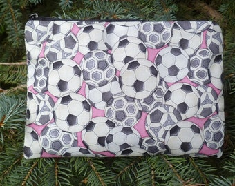Soccer balls on pink zippered bag, makeup case, accessory bag, The Scooter