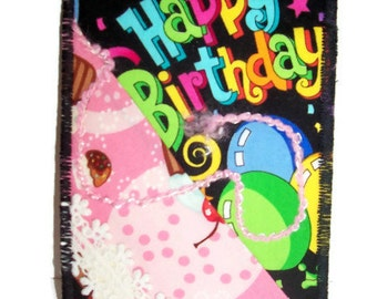 Fabric Postcard, Embellished Happy Birthday