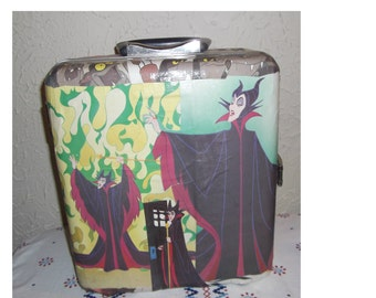 vintage travel bar .   decoupaged   Maleficent  ...