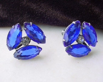 Art Deco Cobalt Blue Earrings Faceted Glass Rhinestone Screw Back
