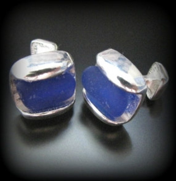 Sea Glass Jewelry, Cobalt Blue - Father's Day Sea Glass Jewelry Cufflinks- Sterling Silver and Seaglass, Jewellery