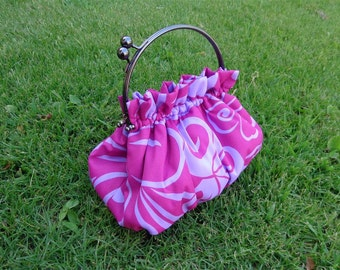 Purse in Polynesian Pink and Lavendar Print with 6 Inch Frame