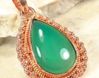 Sale: Green Onyx and Copper Teardrop Pendant
