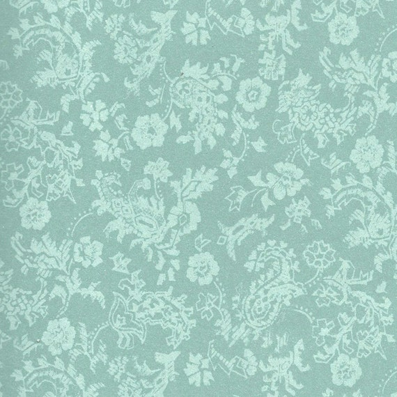 Green Damask Sheet Paper . Dollhouse Wallpaper . 1 Inch Scale