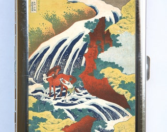 Waterfall Horse Cigarette Case Wallet Business Card Holder japanese tattoo woodblock