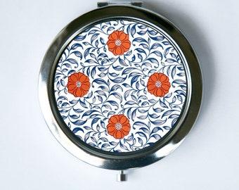 Floral Pattern #2 Compact Mirror Pocket Mirror flowers blue orange