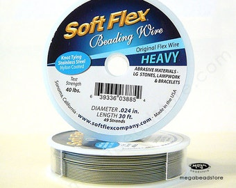 Heavy .024 49 Strand Soft Flex Original Stainless Steel Beading Wire -30 ft.
