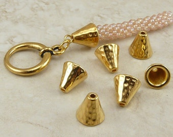 6 TierraCast Small Hammertone Hammered Bead Cap Cones > 22kt Gold Plated LEAD FREE pewter - I ship internationally 5684