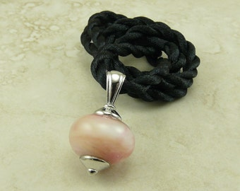 "Pearly Pink - Lampwork Glass Bead Focal Pendant Necklace - 18"" Satin Cord - Pastel Pink Pearl Cream"