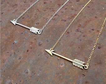 silver arrow necklace | gold arrow necklace | gift for her
