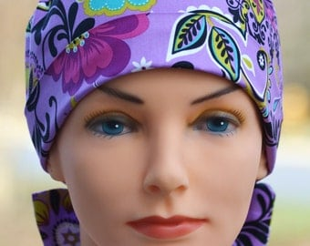Womens Surgical Scrub Cap - The Mini with FABRIC TIES - Floral Bliss