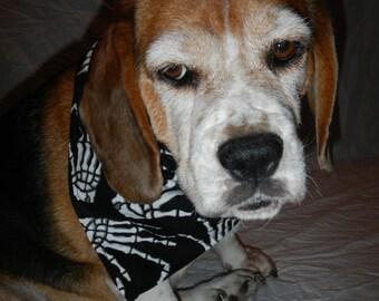 Gothic Halloween Dog Bandana, black with white skeleton hands