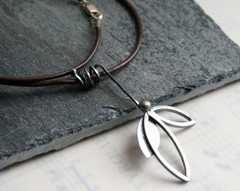 "Sterling Silver Leaflet Necklace- Brown Leather Cord 16"" Length"