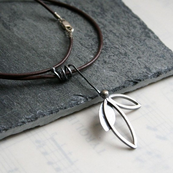 """Sterling Silver Leaflet Necklace- Brown Leather Cord 16"""" Length"""