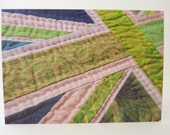 Printed Art Card - Green Patchwork Union Jack Detail