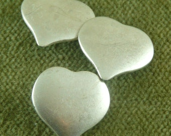 Simple Antique Silver Domed Heart Buttons   G29