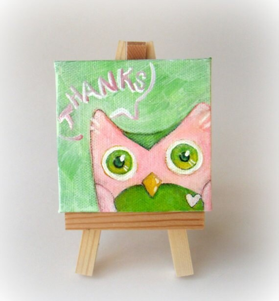 SALE - Little Strawberry Owl Says Thanks. An Original Miniature Painting. - Special CLEARANCE SALE -