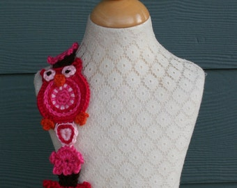 Crochet Scarf Pattern, Valentine, Sweet Heart Owl
