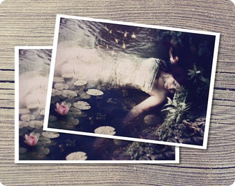 Sleep to Dream, Ophelia Inspired 5x7 Postcard, Dark Fantasy Art