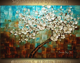 ORIGINAL Tree Painting Abstract White Cherry Blossom Thick Texture Blue & Brown Fine Art 36x24 Made2Order -Susanna