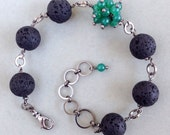 Natural Black Lava Rock Bracelet with Asymmetrical Accent