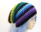 Rainbow Beanie Crochet Slouchy Beanie Hipster Hat Style Slouch Beanie mütze häkeln