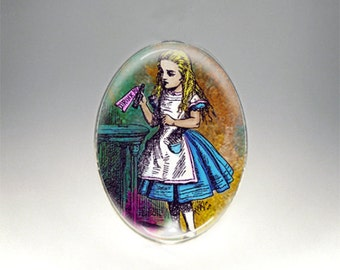 Vintage Alice in Wonderland Image - Drink Me- Handmade Cabochon - Choice of 2 Sizes