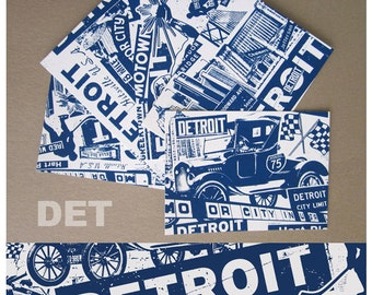 5 Pack Detroit Michigan Silk Screened Post Cards Vacation Motor City - Etsy
